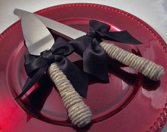 Rustic Wedding Cake Server and Knife Set - Select Colors To Match Your Theme