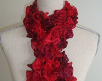 Sale red ruffle skinny scarf hand knit