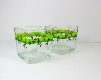 Candle Tea Light Holders Hand Painted Lime Green w/Berries Set of 2