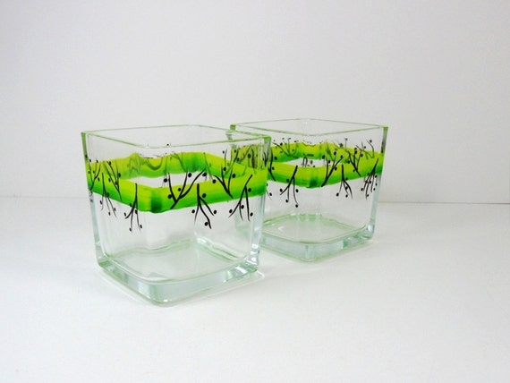 Candle Tea Light Holders Hand Painted Set of 2
