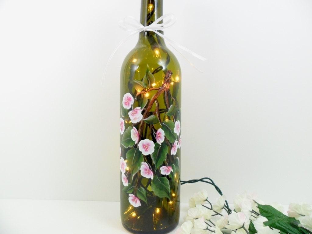 Lighted wine bottle hand painted cherry blossom 750 ml for Painted wine bottles