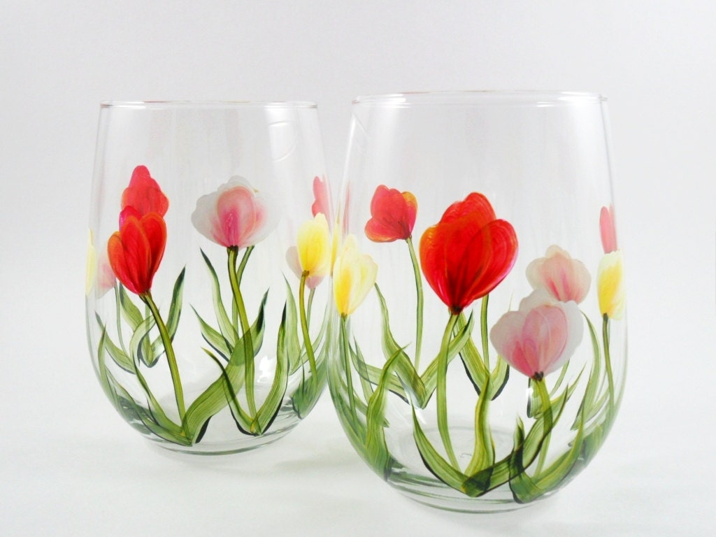 Stemless wine glasses hand painted tulip set of 2 for Painted stemless wine glasses