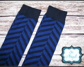 Blue and Navy Herringbone Leg Warmers