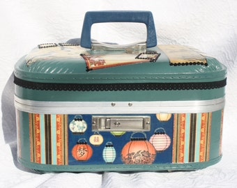 Floating Lanterns Train Case Make Up Case  Carry On Case Storage Luggage One Of a Kind by My Cozy Cottage Designs