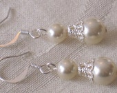 Bridesmaid Gift Swarovski Pearl Jewelry Earrings Pearl Ivory Cream Mother of the Bride Groom Bridesmaid Sets Silver Dangle E096