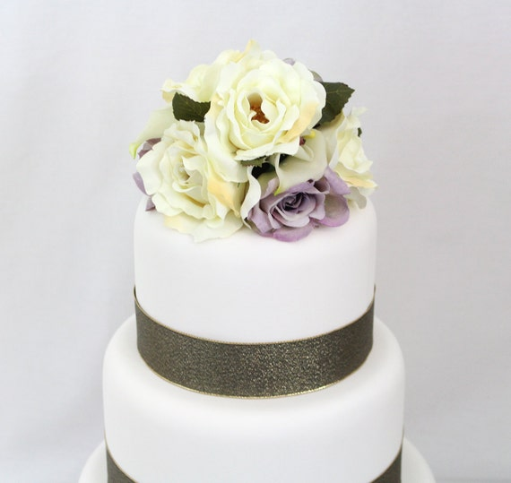 Silk Flower Wedding Cake Toppers: Wedding Cake Topper Calla Lily Ivory Lavender Rose Silk