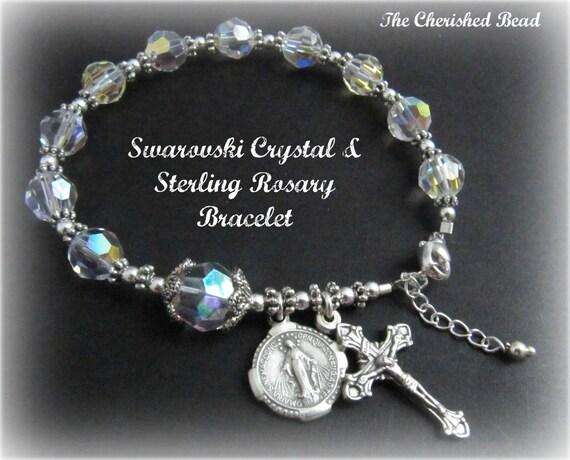 CUSTOM Listing ONLY for Jeannie -  Brilliant Clear Aurora Borealis Swarovski Crystal and Sterling Silver Rosary Bracelet - April Birthstone