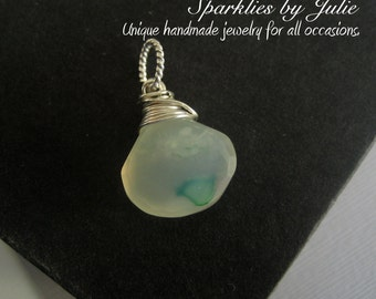 Sea Foam Chalcedony Briolette Pendant, Wire Wrapped in Sterling Silver, Faceted Gemstone, Interchangable pendant, Slider, Enhancer, Dangle