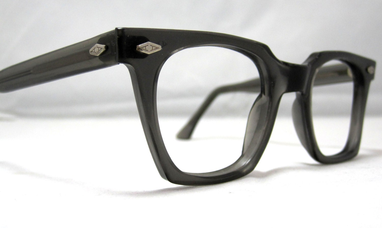 Vintage EyeGlasses Frames Mens Horn Rim Gray Glasses. Mad Men
