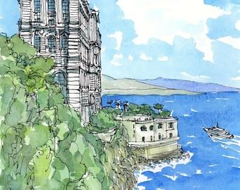 Monaco Oceanographic Museum,  art print from an original watercolor