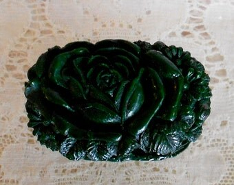1930's Dark Green Rose Celluloid Pin