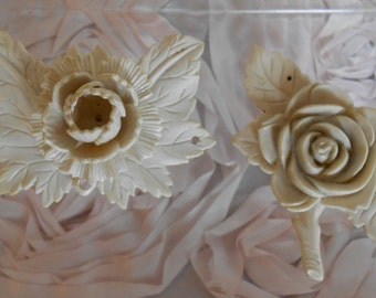 Ivory Colored Celluloid Floral Pieces