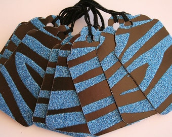 Blue and Black Glitter Zebra Print Gift Tags (10)