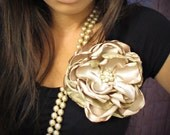 Golden Champagne Couture Flower Clip
