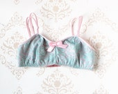 Handmade  'Forget Me Not' Pastel Pink and Blue Bralette Made to Order