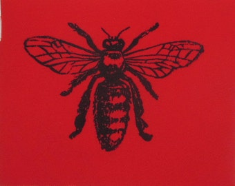 Honey Bee Patch -  Black on Red - punk patch, entomology diagram drawing Image of Insect Bug Critter, Animal Patch, ccd, organic farm apiary