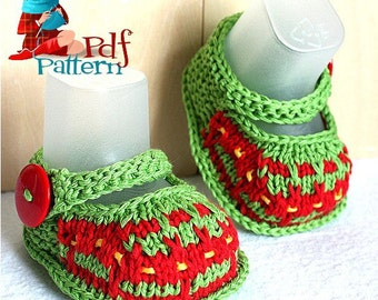 Knitting Pattern (PDF file)  Crazy Colors Baby Bootiess (sizes 0-6/6-9/9-12 months)
