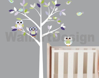 Vinyl Wall Decal Pattern Leaf Girl Nursery Tree Owls Birds