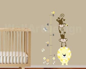 Vinyl Wall Decal Growth Chart with lion,monkeys,flowers,birds and butterflies  Children's Vinyl Wall Sticker