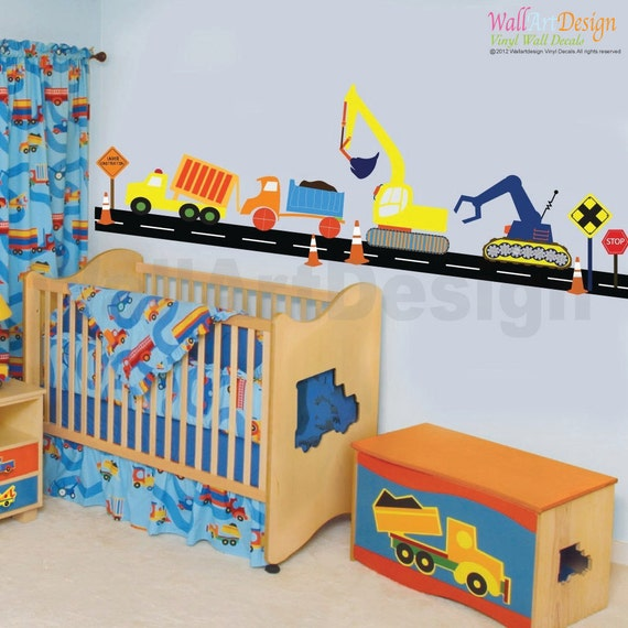 VACATION SALE-All orders ship Aug 15th!! Boys Construction Vehicle Set Vinyl Wall Decal Stickers