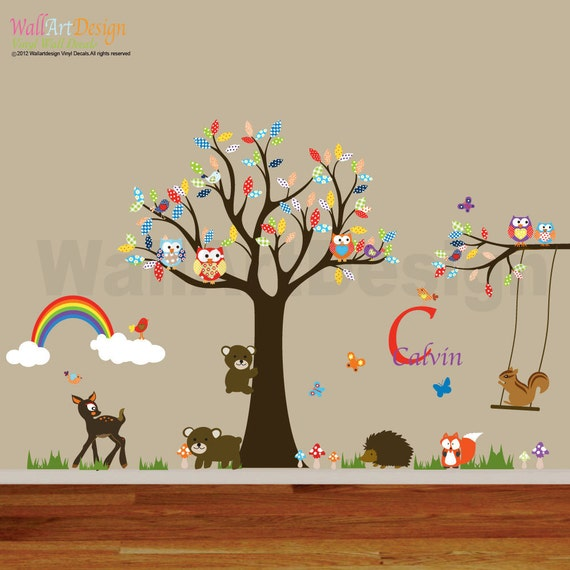 Items similar to nursery playroom owl tree deer bird swing for Bird and owl tree wall mural set