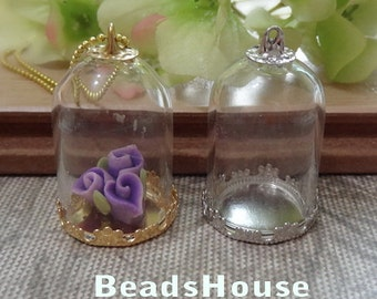 4 sets - 20 x 28mm  Medium Clear Glass Bell Bottle Gold  Brass Base or silver Plated With Cap