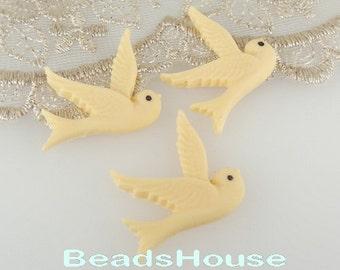 10 pcs ( 25 x 25 mm) Pretty Flying Bird Cabochon,Ivory (667-00)