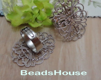 20%off: 2pcs -(25x35 mm) Adjustable Silver Plated Brass Ring Base,NICKEL FREE