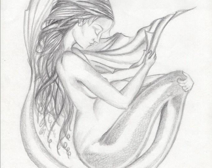 Mermaid Art, Mermaid Drawing Print, Fantasy Art 8 x 10 Pregnant Mermaid drawing Black and White Print