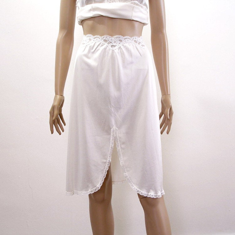 1970s half slip 70s lacy white waist half by lookagainvintage