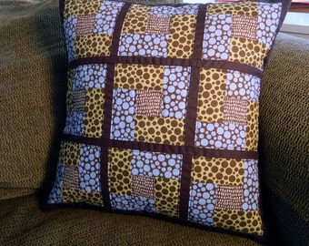 Handcrafted Quilted Pillow Cover with polk-a-dot fabrics
