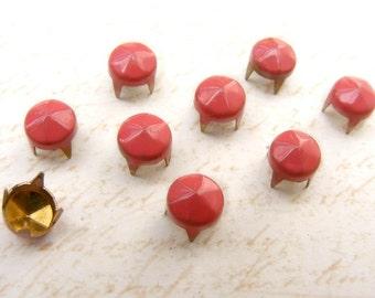 50pcs 6mm 4 prongs dark OROS Facets Cone Nailhead Studs Spots Vintage