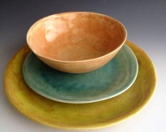 Handmade ceramic plates, dinnerware, Wedding gifts, Set of 3 Organic shaped Tableware, pottery plates Dinnerware set, by Leslie Freeman