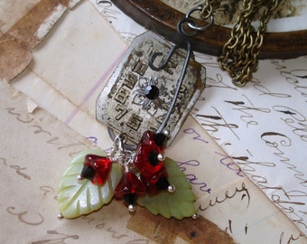 Vintage Watch Dial Pendant Necklace, Czech glass Flowers, Carved Jade Leaves, One of a Kind, Wire Work C 7-8