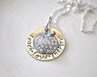 Teachers Necklace -Hand Stamped -Personalized Jewelry-Teacher Gift-Teacher Necklace-Teach-Love-Inspire