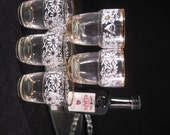 Vintage Gilded Daisy Shot Glasses - CHEERS for 5