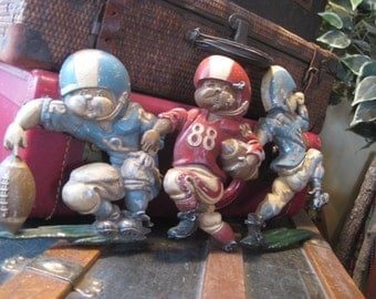 Set of 3 Football Cast Aluminum Wall Plaques from Homco 1976