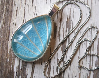Let it Rain - Light Blue and Silver Botanical Teardrop Necklace