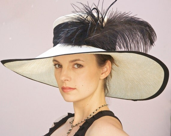 Kentucky Derby Hat. Wide Brim Hat, Black & White Hat, Derby Hat, Ascot Hat, Special Occasion Hat, Formal hat