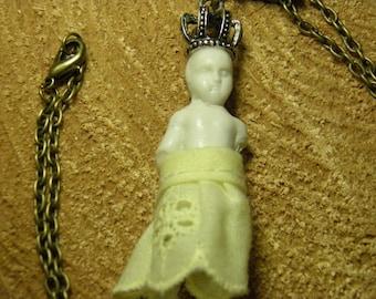 Frozen Charlotte Doll Necklace Antique 1860s German Bisque Porcelain Assemblage Steampunk Jewelry Goth Rockabilly Jewelry No.1 OOAK
