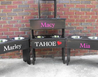 Distressed Personalized Raised Dog Bowl Stand -21'' Tall - Two 3 Quart Bowls