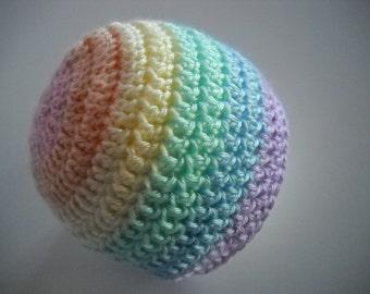 Crochet Baby Hat Beanie Style Rainbow Pastels