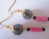 Black and Pink Earrings