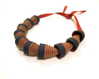 Green Textile Zippers Cones Handmade Statement Necklace