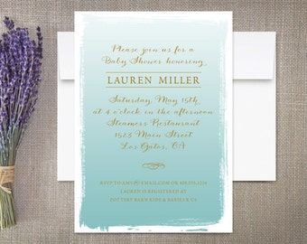 Watercolor Baby Shower Invitations, Ombre