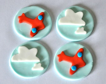 Airplane Fondant Toppers for Cupcakes, Cake and Cookies- Edible- 1 DOZEN