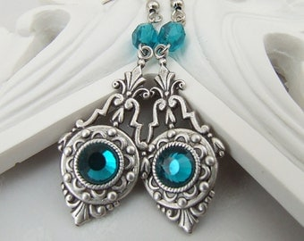 CLEARANCE -- TWILIGHT - Vintage Silver Ornate Art Nouveau Fantasy Earrings with blue zircon crystals and czech glass