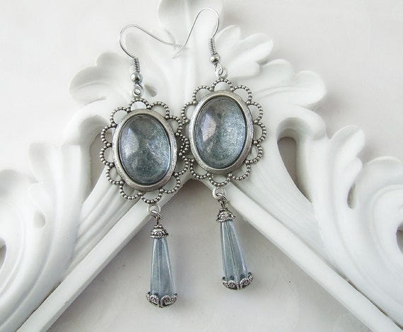 Diana's Mirror Vintage Filigree Blue Luster Czech Glass Goddess Earrings