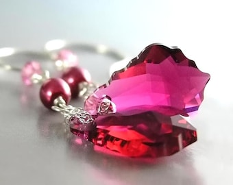 Ruby Crystal Earrings Sterling Silver Earrings Cranberry Swarovski Crystal Earrings Raspberry Pink Earrings Ruby Dangle Earrings