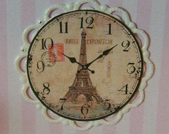 Dollhouse Miniature Wall Clock Eiffel Tower Pasta
